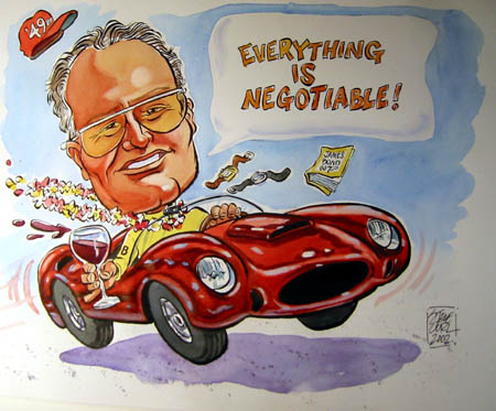 60th birthday caricature by Steve Curl