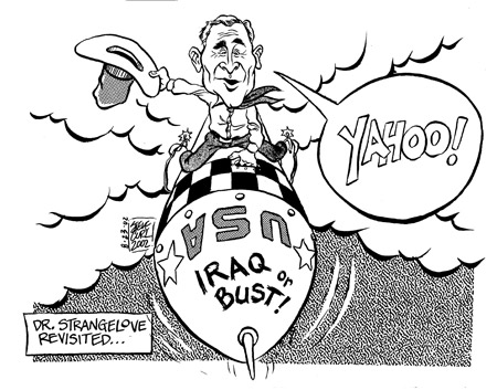 Caricature of George W. Bush, by Steve Curl